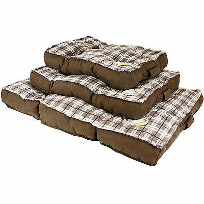 Me & My Luxury Super Soft Brown Check Dog/puppy/cat Pet Bed Fleece/cushion Mat