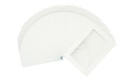 Set of 100 5x7 WHITE Picture Mats with White Core for 4x6 Photo + Back + Bags