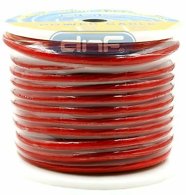 2 Gauge 100 Feet Red See Through AMP Power/ Ground Cable - SAME DAY SHIPPING!