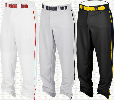 Rawlings Hemmed Relaxed Fit Open Bottom Youth Boys Baseball Pants W Piping Braid