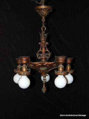 Original 1920s Cast Iron Art Deco 5 Lite Polychrome Light Fixture Pendant
