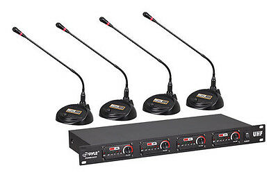 Pyle Rack Mount Stand Desktop Conference Room UHF Wireless Microphone System