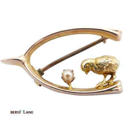 Antique Edwardian 9ct Gold 'Lucky' Brooch Little Chicken & Pearl on Wishbone