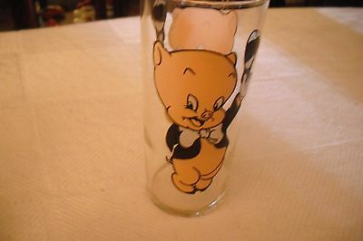 """Porky Pig  Looney Tunes Glass 1973 Hardee""""s  White Letters"""
