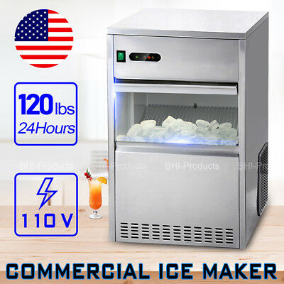 Commercial 120Lbs/24h Restaurant Ice Maker Machine Auto Electric Nugget Party
