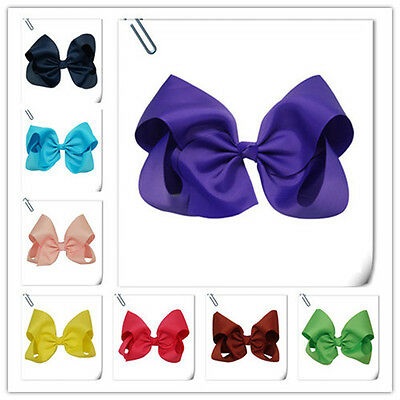 8 Inch Extra Large Grosgrain Knot Hair Bow With Clip for Girls HB001