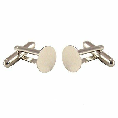 50 (25 pairs) Silver French Cuff Links Blanks-10mm Glue Pads BF