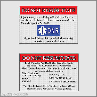 Do Not Resuscitate Card.