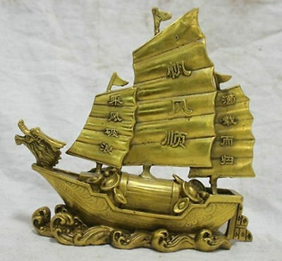Chinese bronze statue Dragon Boat Money Lucky Sculpture n