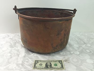 """Large Vintage 9"""" Copper Pail / Pot / Bucket w/ Wrought Iron Handle ~ Rustic Look"""
