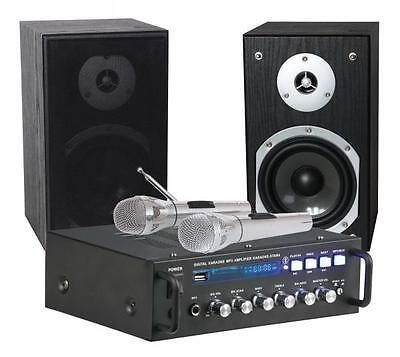KARAOKE SET STAR-4 Amplifier 2 x75 W, 2 Speakers, 2 Microphones USB/SD black