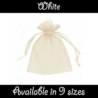White Organza Gift Pouch Wedding Favour Jewellery Bags in 23 Colours & 9 Sizes
