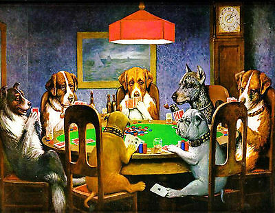 Stampa Su Tela Canvas Dogs Playing Poker 70X55 Cani Carte Design Arredo Natale