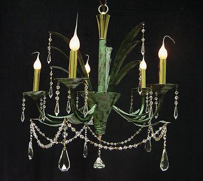 "Vintage Verde Green Leaf 5 Light 22""x22 WROUGHT IRON CHANDELIER ~ Brass Accents"