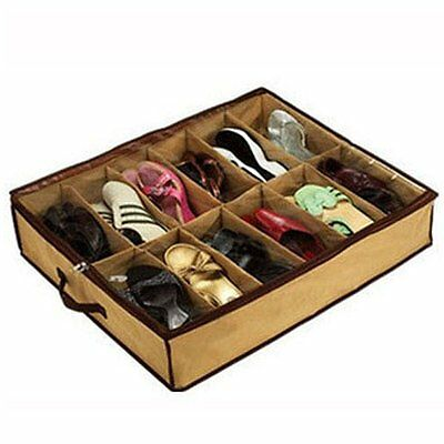 12 Pairs Shoes Storage Organizer Holder Shoe Container Under Bed Closet Box Bag