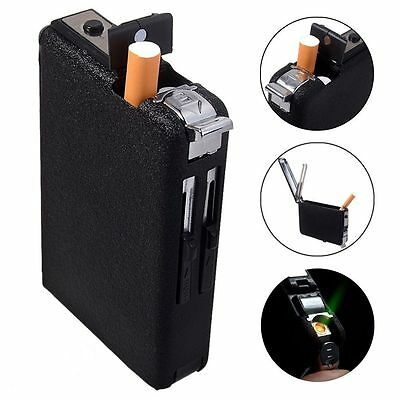 Cigarette Case & Lighter Automatic Ejection Butane Windproof Metal Box Holder HC