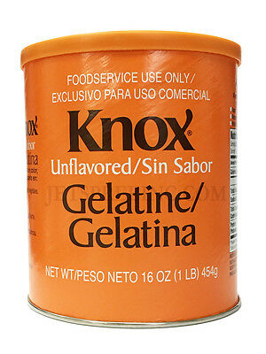 Authentic Knox Unflavored Gelatin 1 lb 454 grams
