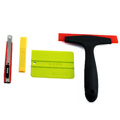 Car Window Scraper Wrap Tint Vinyl Film Squeegee Cleaning Tool Kit+10 Pcs blades