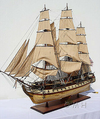 "USS Constitution Tall Ship Assembled 59"" Built XL Wooden Model Boat New"