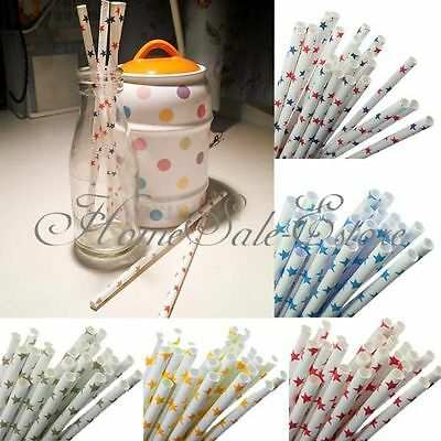 25pcs Colorful Cute Star Paper Straws Drinking Straws For Birthday Wedding Party