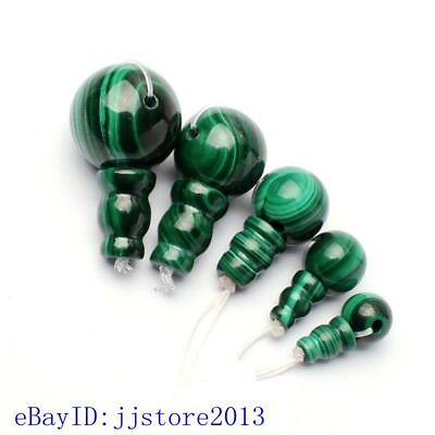 8-17mm Smooth Round Shape Natural Green Malachite Tibet Guru Loose Beads 1 Set