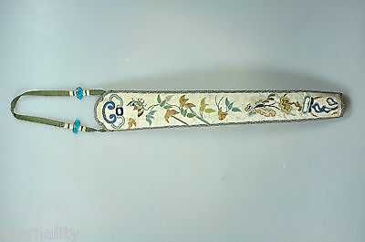 Antique Chinese China Qing Silk Embroidery Fan Case Cover Handicraft 19C