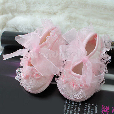 Princess Pink Non-Slip Newborn Baby Toddler Girl Beautiful Lace Shoes 0-3 Month