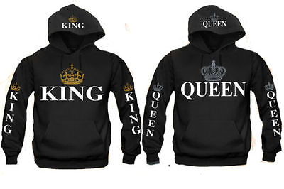King and Queen Couple matching funny cute Hood Pull Over S-3XL