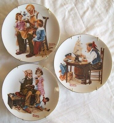 3 NORMAN ROCKWELL Collector Plates 1982 Toymaker, Good Boy, Cobbler 6.5""