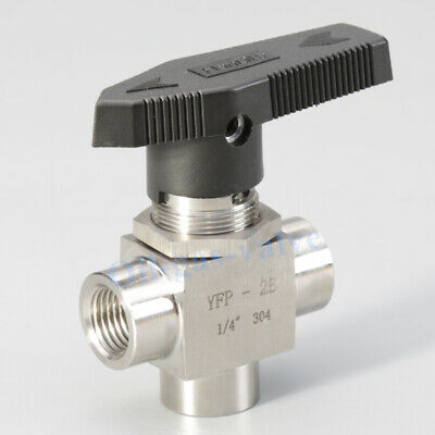 "3 way ball valve 1/4"" NPT Gas Sleeve Tube L Port 1000PSI Stainless Steel Oil US"