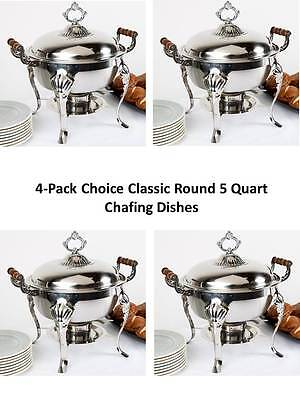 (4-Pack) Choice Economy Round 5 Qt. Stainless Steel Chafing Dishes