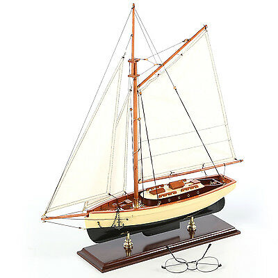 """1930's Classic Sailboat Assembled Small 22"""" Built Wooden Authentic Models Yacht"""