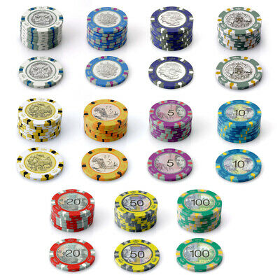 500 Aussie Currency Chips 14g Poker Game Set Gambling Casino Pick Any Combo New