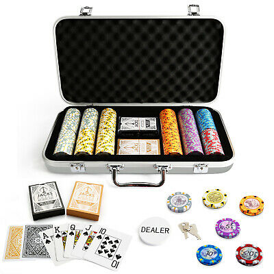 300 Chips Poker Game Set Aluminium Case Aussie Currency 14g Chips Plastic Cards