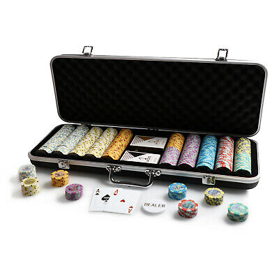 500 Chips Poker Game Set Black Case Aussie Currency 14g Chips Plastic Cards