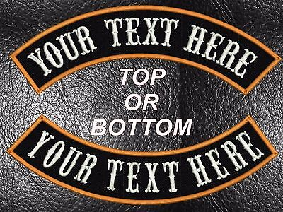 """Custom Embroidered 13"""" Rocker Mc Name Patch Top Or Bottom Motorcycle Biker  Usa"""