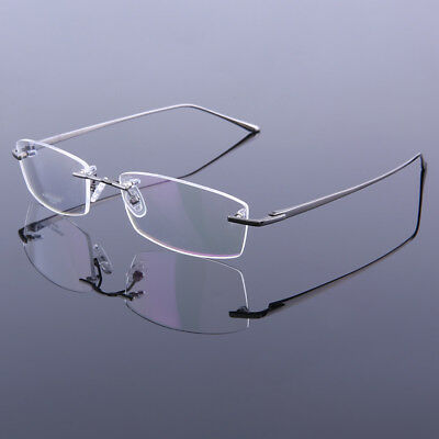 da0b7b3a927f Men s Eyeglass Frames Titanium Rimless Spectacle Frame Glasses Eyewear 75019