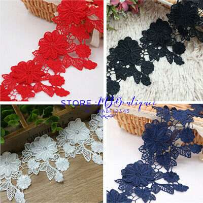 FP72 1 Yard Lace Trim Ribbon Wedding Dress Embroidered Sewing Applique Craft DIY