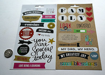 Scrapbooking No 421 - 30+ Medium To Large Die Cut Family Themed Stickers