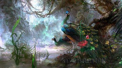"""36""""x20"""" Birds Peacock HD Painting Print on Canvas Abstract Animals Wall Decor"""