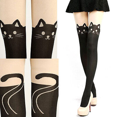 Women Stretch Cute Cat Tail Stockings Hosiery Tattoo Knee High Long Socks Tights