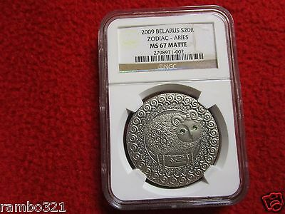 Belarus 2009 20 Rubles Zodiac Signs - Aries NGC MS67 Swarvoski Silver Coin
