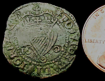 P776: 1601 Irish Elizabeth 1st Copper Penny - emergency money to pay the troops