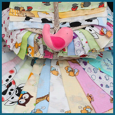 20 LARGE 70x80cm Muslin Squares 100% Cotton Cloths Various Designs Cotton Tetra