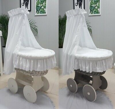 Romantic Wicker Moses Basket + Stand + Big Wheels + Bedding With Lace + Drape