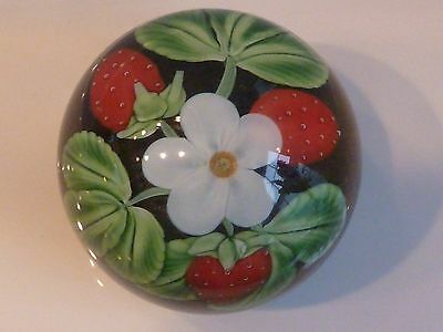Orient & Flume Crystal Cased Strawberries & Blossom Paperweight Seaira1983 EC