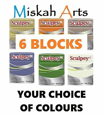 SCULPEY III - Polymer Clay - 57g -  6  BLOCKS - YOUR CHOICE OF COLOURS