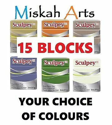 SCULPEY III - Polymer Clay - 57g - 15 BLOCKS - YOUR CHOICE OF COLOURS
