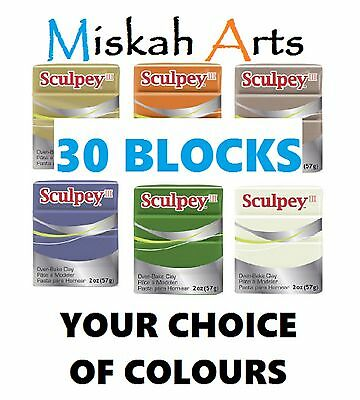 SCULPEY III - Polymer Clay - 57g - 30 BLOCKS - YOUR CHOICE OF COLOURS