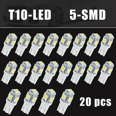 20PCS 6000K White T10 Wedge 5-SMD 5050 LED Light Bulbs W5W 2825 158 192 168 194